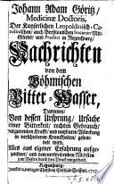 Nachrichten von dem Böhmischen Bitter-Wasser