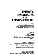Energy, Resources, and Environment