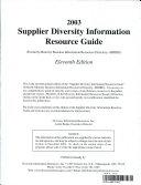 Supplier Diversity Information Resource Directory 2003