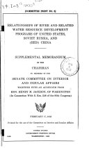 Relationships of River and Related Water Resource Development Programs of United States  Soviet Russia  and  Red  China
