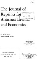 The Journal of Reprints for Antitrust Law and Economics