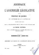 Journals of the Legislative Assembly of the Province of Quebec
