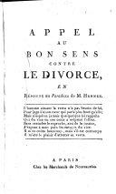 Appel au bon sens contre le divorce en reponse au Paradoxe de M. Hennet