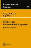Pdf Multivariate Reduced-Rank Regression