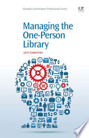 Managing The One Person Library Book PDF