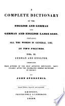 A Complete Dictionary of the English and German and English Languages Book