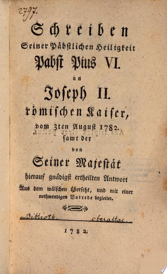 Schreiben an Joseph II  vom 3  August 1782