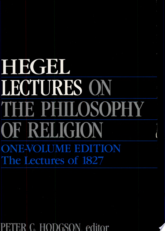 Lectures on the Philosophy of Relig