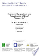European Energy Security What Should It Mean What To Do  Book PDF