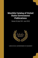 Monthly Catalog Of Us Governme