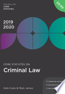 Core Statutes on Criminal Law 2019 20