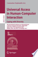 Universal Acess in Human Computer Interaction  Coping with Diversity Book PDF