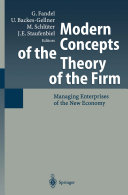 Modern Concepts of the Theory of the Firm