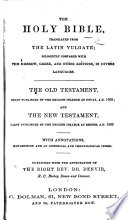 The Holy Bible Translated from the Latin Vulgate  Etc Book