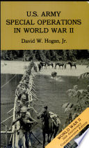 U S  Army Special Operations in World War II  Paperback format only