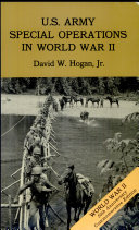 U.S. Army Special Operations in World War II (Paperback format only)