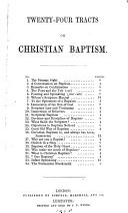 Twenty four tracts on Christian baptism
