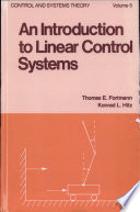 An Introduction To Linear Control Systems Book PDF