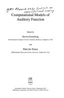 Computational models of auditory function