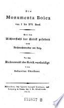 Die Monumenta Boica von I bis XVI. Band