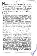 Noticia de los sucesos de la armada combinada de España y Francia apostada à esperar á la de Inglaterra, y de los varios encuentros hasta la funcion que empeyó a travarse al anochecer del dia 20 de octubre de 1782