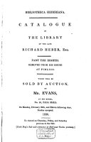 Auction catalogue, books of Richard Heber, 29 February to 12 March 1836