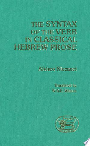 Download The Syntax of the Verb in Classical Hebrew Prose online Books - godinez books