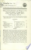 Effect of Crop Rotation and Manure on the Yield and Quality of Sugar Beets  United States Scotts Bluff  Nebr   Field Station  1930 41 Book PDF