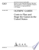 Olympic games costs to plan and stage the games in the United States  Book PDF