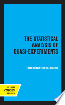 The Statistical Analysis of Quasi Experiments Book PDF
