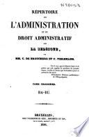 R Pertoire De L Administration Et Du Droit Administratif De La Belgique