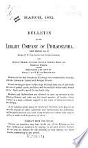 Bulletin of the Library Company of Philadelphia
