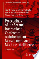Proceedings of the Second International Conference on Information Management and Machine Intelligence