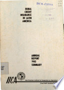 Third Annual Report  summary  Agricultural credit insurance in Latin America 1982 Book