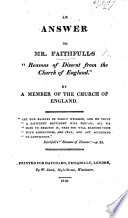 An Answer To Mr Faithful S Reasons Of Dissent From The Church Of England