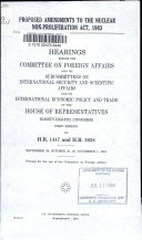 Proposed Amendments to the Nuclear Non proliferation Act  1983