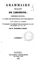 Grammaire francaise a l'usage des institutions et des ecoles primaires de Lhomond ebook