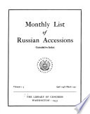 Monthly List of Russian Accessions