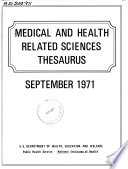 Medical and Health Related Sciences Thesaurus