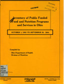Inventory of Public Funded Food and Nutrition Programs and Services in Ohio Book