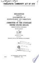 Therapeutic Community Act Of 1978