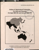 Indices of Agricultural Production for Asia and Oceania   Average 1961 65 and Annual 1969 78