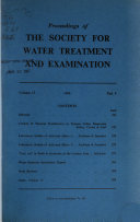 Proceedings of the Society for Water Treatment and Examination