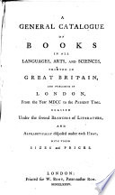 A General Catalogue Of Books