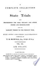 Cobbett's Complete Collection of State Trials and Proceedings for High Treason and Other Crimes and Misdemeanors from the Earliest Period to the Present Time Pdf/ePub eBook