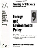 Teaming for Efficiency  Energy and environmental policy