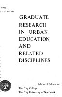 Graduate Research in Urban Education and Related Disciplines