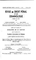 Revue de Droit Pénal et de Criminologie