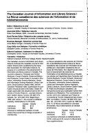 Revue Canadienne Des Sciences De L Information Et De Bibliothe Onomie