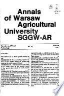 Annals of Warsaw Agricultural University, SGGW-AR.